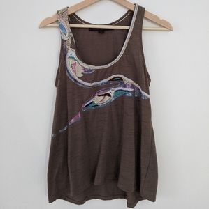 Coffee Brown Tank with Abstract Embroidery & Sequi